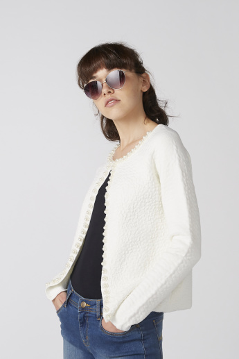 Textured Open Front Jacket with Long Sleeves and Pearl Detail