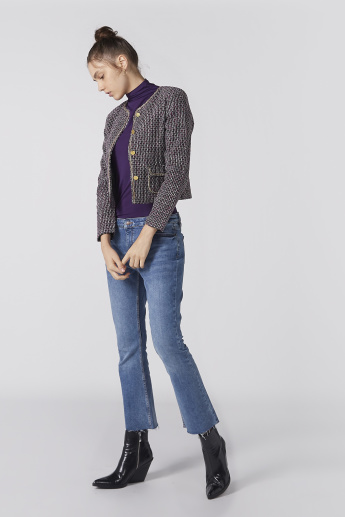 Textured Crop Jacket with Long Sleeves and Pocket Detail