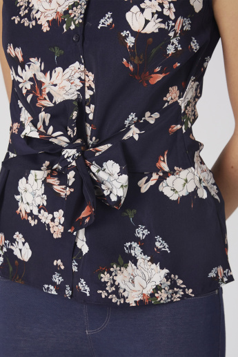 Floral Printed Sleeveless Shirt with Tie Ups and Complete Placket