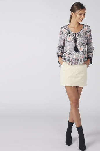Floral Printed Top with Ruffle Detail and Tie Ups