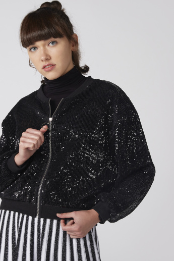 Sequin Detail Jacket with Long Sleeves and Zip Closure