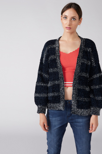 Textured Open Front Shrug with Long Sleeves