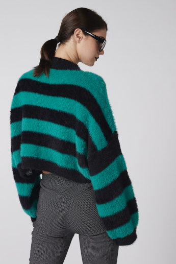 Striped Oversized Sweater with Plush Detail and Long Sleeves