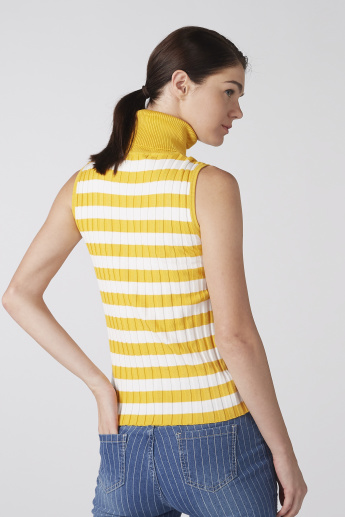 Striped Sleeveless Top with High Neck