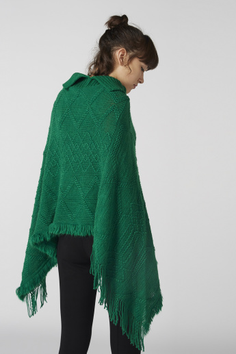 Textured Poncho Style Shrug with Turtleneck and Fringes