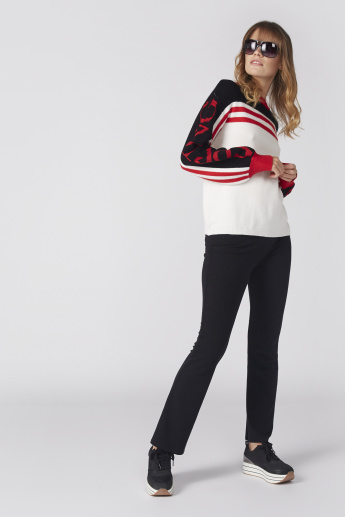 Ribbed Neck Sweater with Long Sleeves