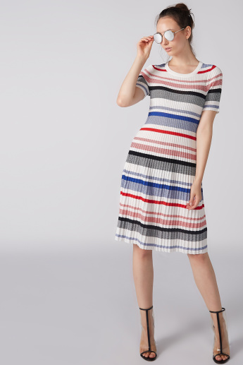 Striped and Textured Midi Dress with Short Sleeves