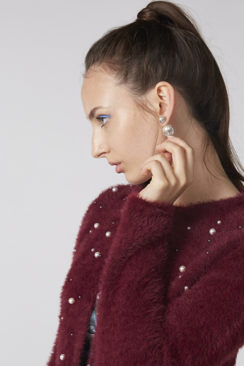 Embellished and Textured Sweater with Long Sleeves