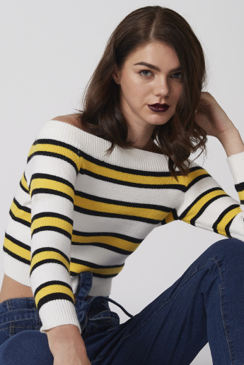 Striped Off Shoulder Crop Top with Long Sleeves