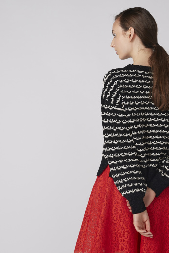 Textured and Jacquard Printed Round Neck Sweater with Long Sleeves