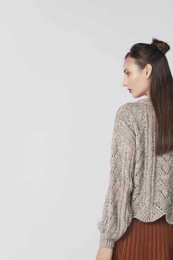 Textured Round Neck Sweater with Scallop Detail and Long Sleeves