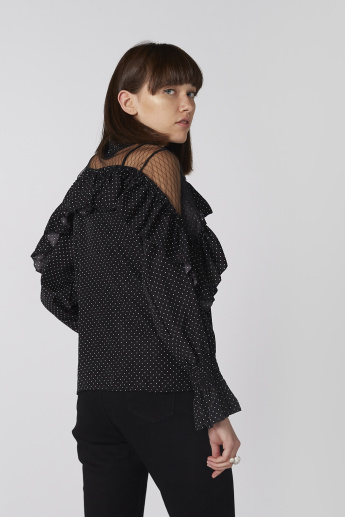 Polka Dot Printed Top with High Neck and Ruffle Detail