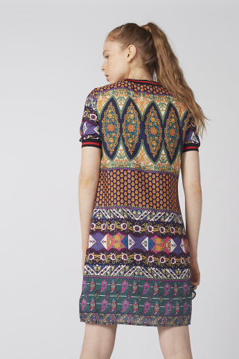 Printed Midi Shift Dress with Short Sleeves