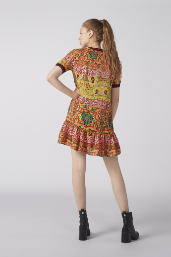 Printed Mini Skater Dress with Short Sleeves