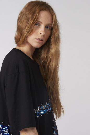 Sequin Detail Oversized T-Shirt with Short Sleeves