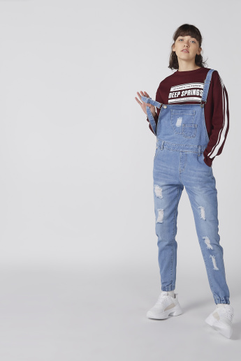 Distressed Denim Dungarees with Pocket Detail