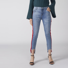 Tape and Pocket Detail Jeans with Button Closure and Frayed Grazers