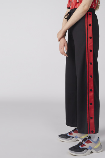 Tape Detail Bell-Bottom Pants with Elasticised Waistband