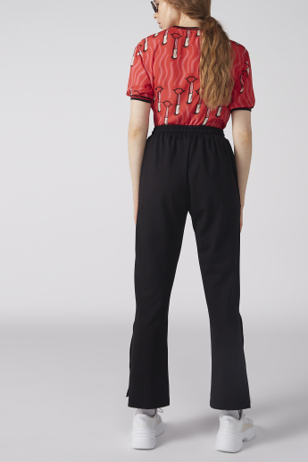 Striped Pants with Elasticised Waistband and Pocket Detail