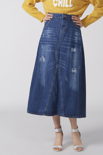 Distressed Skirt with Button Closure and Pocket Detail