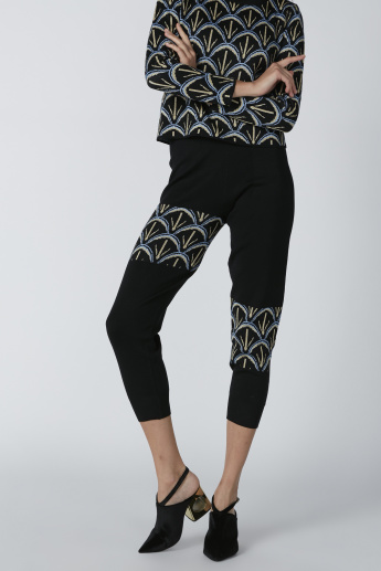 Printed Cropped Leggings with Elasticised Waistband