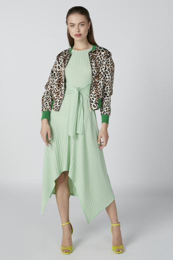 Animal Printed Jacket with Long Sleeves and Zip Closure