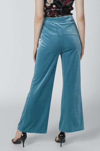 Button Detail Full Length High Waist Palazzo Pants in Slim Fit