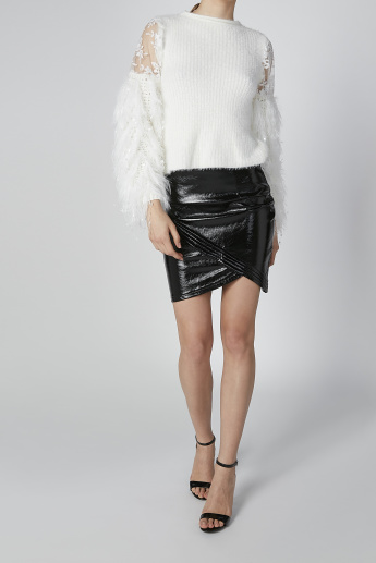Textured Asymmetric Mini Skirt with Zip Closure