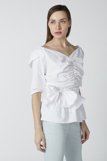 Bardot Neck Top with Short Sleeves and Bow Detail