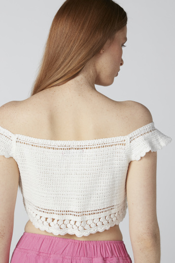 Textured Crop Top with Bardot Neck