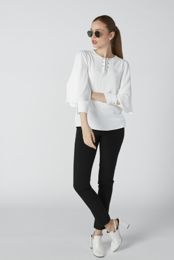 Pearl Detail Top with Round Neck and Cutout Sleeves