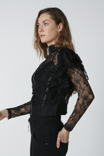 Lace Top  with Zip Closure and Long Sleeves