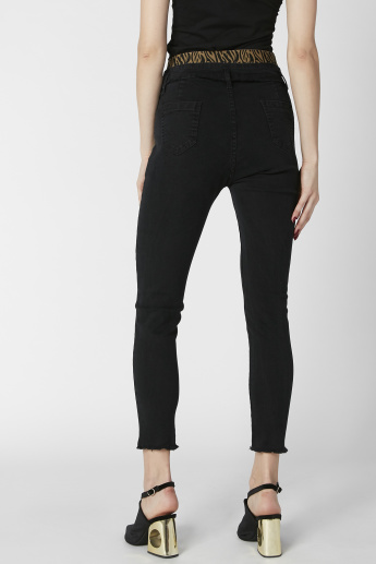 Distressed Skinny Fit Jeans with Pocket Detail
