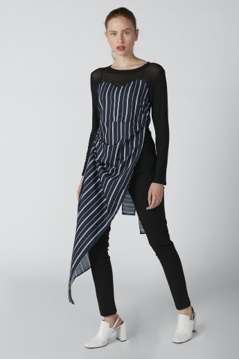 Striped Longline Top with Long Sleeves and Tie Ups