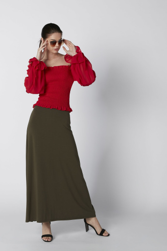 Off Shoulder Top with Smocking Detail and Long Sleeves
