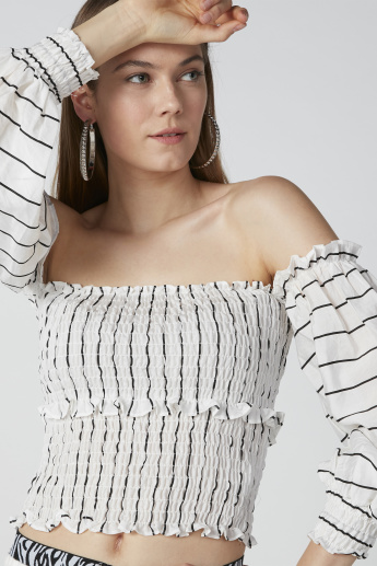 Striped Off-Shoulder Top with Long Sleeves