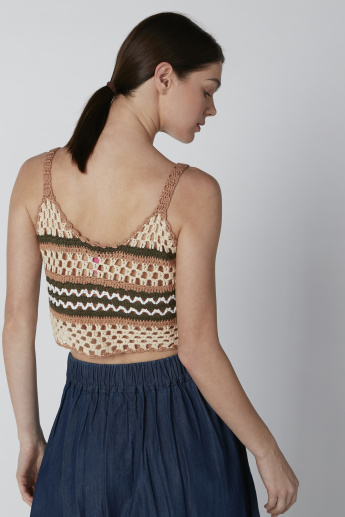 Textured Beachwear Top with Straps