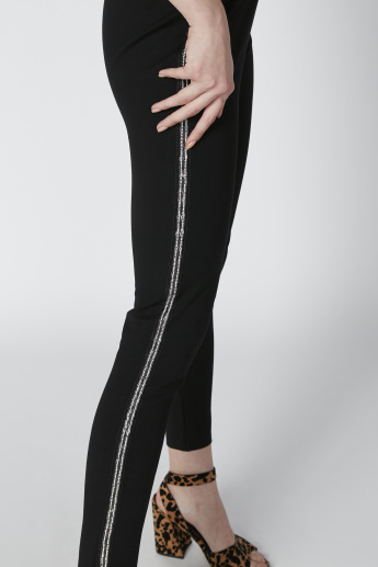 Side Tape Detail Slim-Fit Mid-Rise Pants