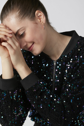 Sequin Bomber Jacket with Long Sleeves and Zip Closure