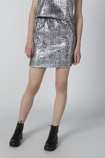 Animal Printed Mini Shift Skirt