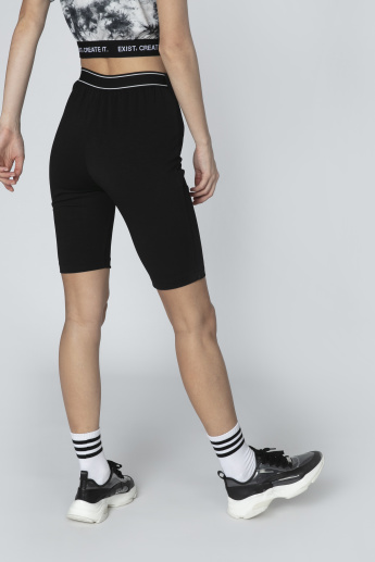 Plain Skinny Fit Flexi Waist Shorts with Side Zip Detail