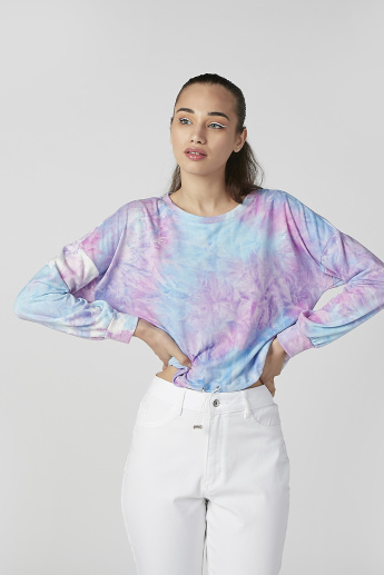 Printed Crop Top with Round Neck and Long Sleeves