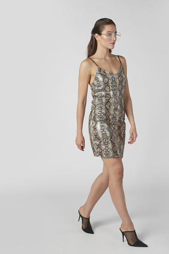 Animal Printed Mini A-line Dress with Adjustable Spaghetti Straps