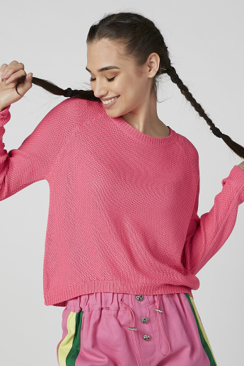 Textured Jumper with Round Neck and Raglan Sleeves