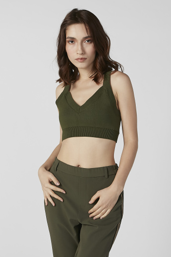 Textured Crop Top with V-neck and Tie Ups