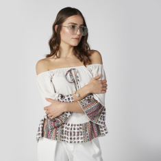Printed Off Shoulder Top with Flounce Sleeves and Tie Ups