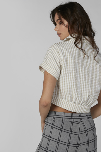 Chequered Crop Shirt with Short Sleeves