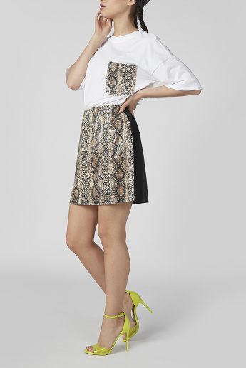 Animal Printed Mini A-line Skirt with Elasticised Waistband