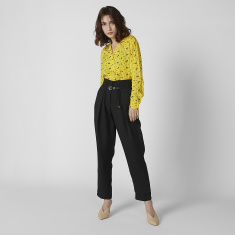Plain Mid Waist Trousers with Pin Buckle Closure