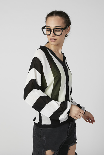 Striped Jumper with V-neck and Long Sleeves